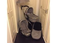 iCandy Peach stroller and carrycot in silver mint