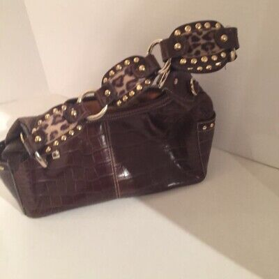 Kathy Van Zeeland Womens Satchel Handbag Brown Alligator Zipper Studded -