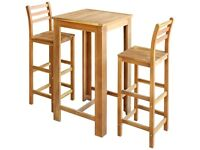 Bar Table and Chair Set 3 Pieces Solid Acacia Wood-246667
