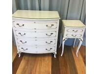 Ornate French Louis Dressing table Chest of drawers and bedside set.