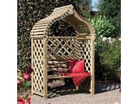 New Jaipur Arbour Pressure Treated Wooden Double Seat Free Delivery and Assembly