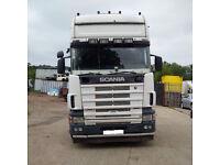Left hand drive Scania R124L 400 TOPLINE 50 Ton tractor unit. MOT. Low miles