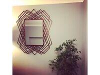 Stunning geometric shape rustic wall mirror