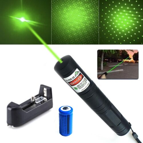 30Miles Military Green Laser Pointer Pen 5mw 532nm Powerful Pet Toy+Batt+Charger