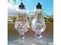 WATERFORD CRYSTAL - LISMORE - Pair of Cut Glass Footed Salt and Pepper Shakers Cruets RRP £150