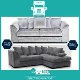🇋New 2 Seater £169 3S £195 3+2 £295 Corner Sofa £295-Crushed Velvet Jumbo Cord Brand ⶎN1