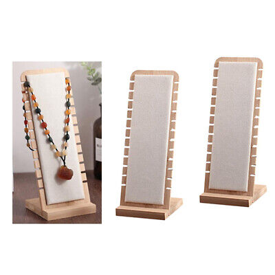 2pc White Elegant Wooden Necklace Display Stand Jewelry Holder Suede Surface