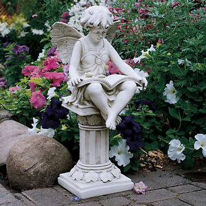 BOOK READING GARDEN FAIRY PIXIE OUTDOOR HOME STATUE SCULPTURE Pool Pond Yard Art