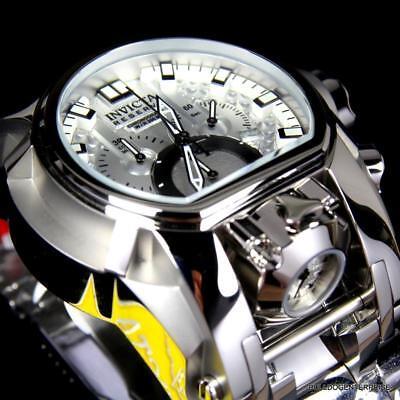 Invicta Reserve Bolt Zeus Magnum Swiss Steel Silver Dual Dial 52mm Watch New