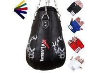 TurnerMAX Leather Pear Shape Maize Bag Boxing Punch Bag Filled FREE Chain & Mitts 2FT BLACK
