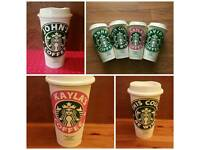 Personalised Reusable Starbucks 16 oz coffee mug.
