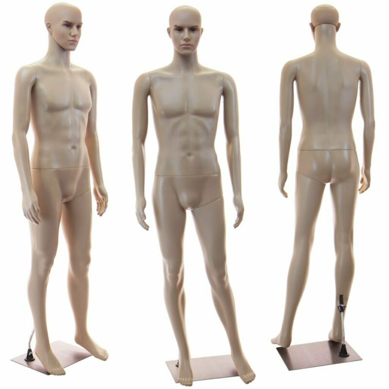 Male full bod mannequin + Base, Arms Head rotate, Realistic looking manikin+1wig