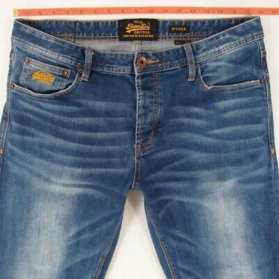 Mens SuperDry OFFICER Stretch Slim Straight Blue Jeans W35 W36 L34