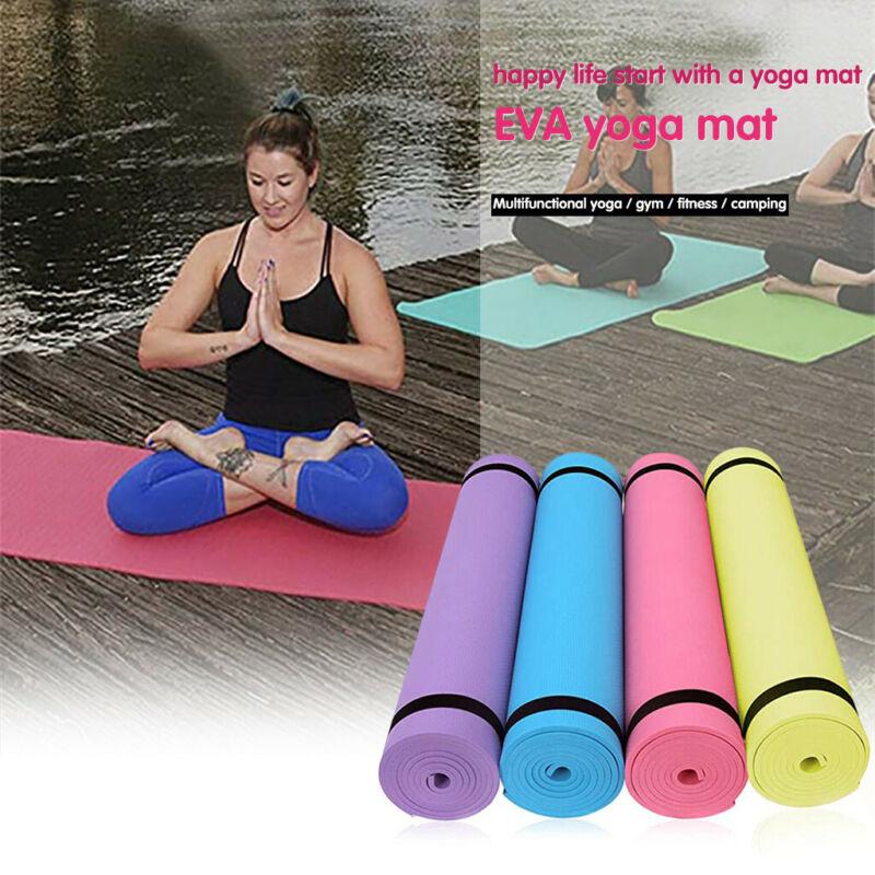 4mm 173x61cm EVA Mat Exercise Yoga Fitness Pilates Thick Com