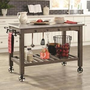"50"" Cherry Finished Industrial Kitchen Island with Casters"