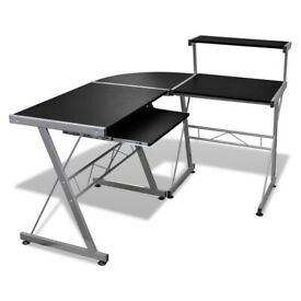Computer Desk with Pull-out Keyboard Tray L-shaped Black-20057
