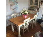 Country kitchen shabby binding room table and chaurs