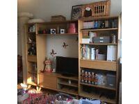 John Lewis Extra Large Shelving Unit Bookcase TV Stand and Drawers - Oak - scandi mid century style