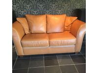 TAN LEATHER 3+2 SEATER SOFAS FOR SALE - MUST GO ASAP - FREE DELIVERY SOME AREAS - £275