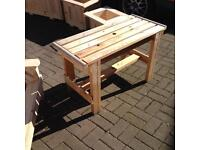 Hand made garden table, unpainted and unvarnished £20.00