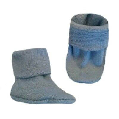 Unisex Baby Light Blue Booties, Crib Shoe Socks - 5 Preemie and Newborn Sizes