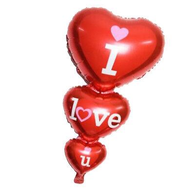 Jumbo Red Triple Hearts Folienballon Romantic Ich liebe dich Ballon ()