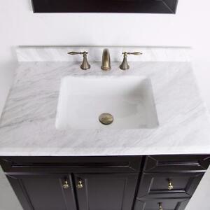 Top de marbre pour une vanité 36'' pas de robinet
