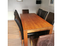Dining Table Solid Wood & 8 Chairs