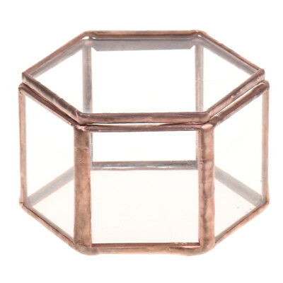 Mini Copper Faceted Hexagonal Clear Glass Jewelry Box Tabletop Home Decora Decora Window Box