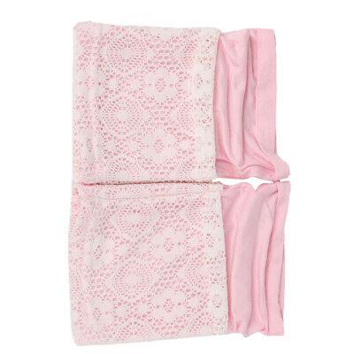 Frauen Schnüren Doppelschicht Beinwärmer Spitze Socke Rosa Strecken
