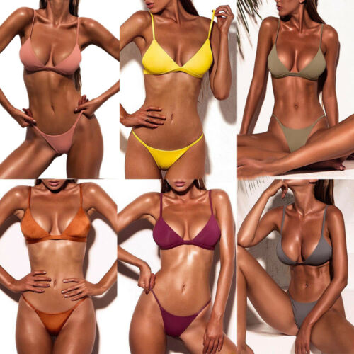 Women Brazilian Bikini Set Swimwear Bandage G-string Thong Swimsuit Bathing Suit Clothing, Shoes & Accessories