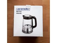 Arendo Kettle Stainless Steel-Glass Kettle with Blue Interior LED