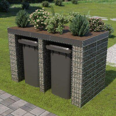 Gabion Wall for Garbage Bin Galvanised Steel 190x100x130 cm - green roof/planter