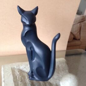 Cat Ornament. Large black/blue cat statuette