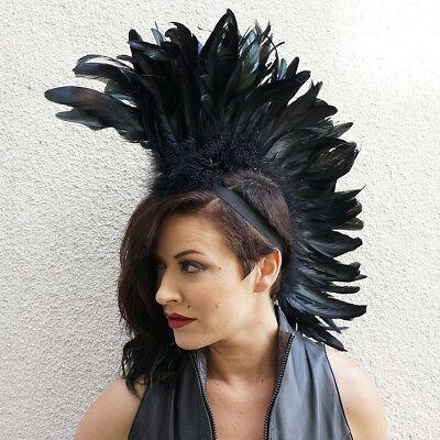 Feather Mohawk Black Feather Bird Headdress Adult Cosplay Halloween Costume
