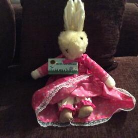 Dressed rabbit With Birth Certificate handmade in Yorkshire pink dress