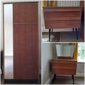 Retro Wardrobe, Dresser and Chest of Drawers