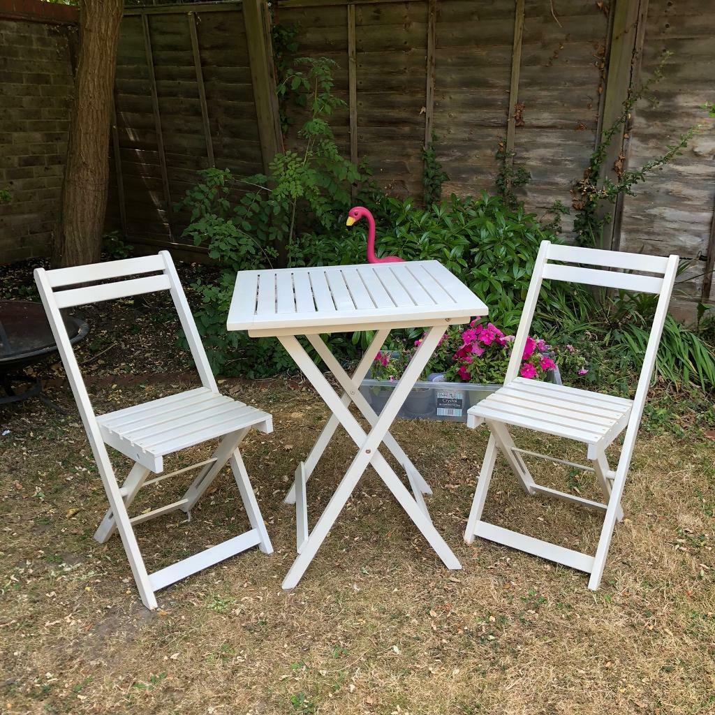 White Wooden Bistro Table And Chairs Foldable In Thames Ditton