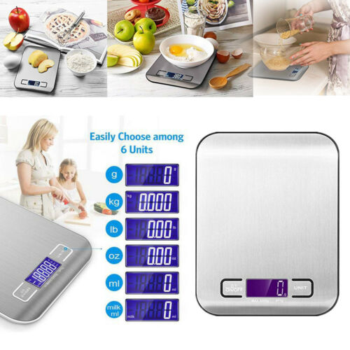 Digital Kitchen Scale Multifunction Food Scale LCD Display Stainless Steel Scale