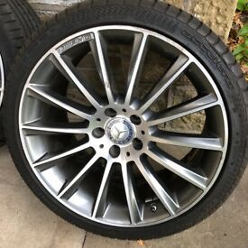 "Genuine OEM Mercedes Benz W205 AMG Alloys 19"" Inch With Tyres X2"