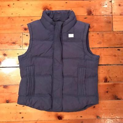 Superdry Dark Brown Hooded Down Filled Padded Gilet Bodywarmer Small S Quilted