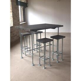 Industrial chic breakfast bar - reclaimed chunky wood top - scaffolding pole - can deliver