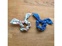 BRAND NEW: Cath Kidston Mini Fabric Bow / Hair Tie / Band x 2 - One Size