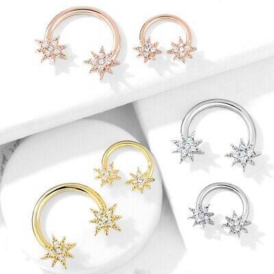 STARBURST HORSESHOE RING CIRCULAR BARBELL SEPTUM PIERCING JEWELRY 16G/14G Circular Horseshoe Barbell Body Jewelry