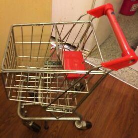 Child's metal hard wearing metal shopping trolley
