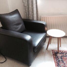 Retro half-leather Armchair