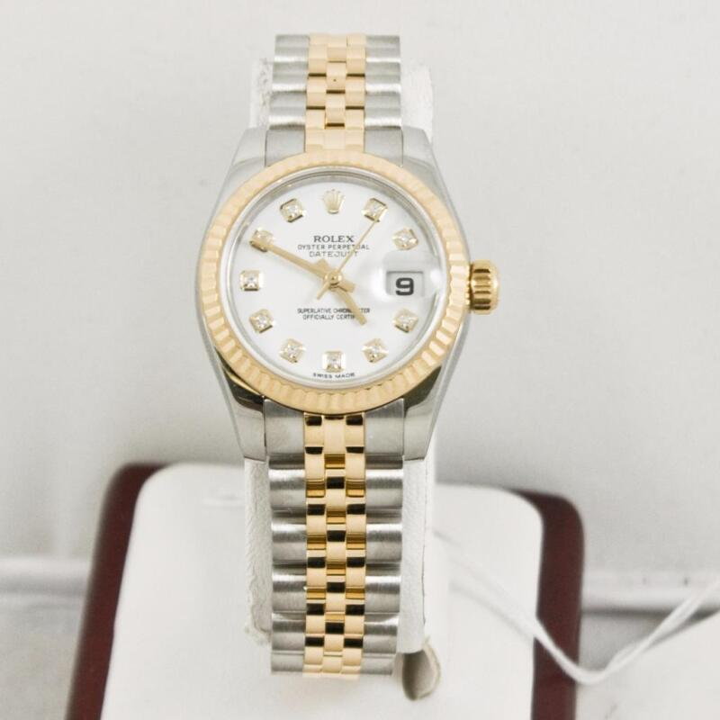Rolex Ladys Steel & Gold Datejust 179173 Rolex White Diamond Dial & Fluted Bezel