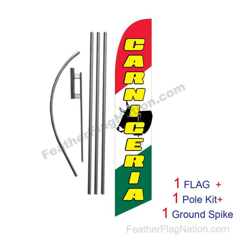 CARNICERIA 15ft Feather Banner Swooper Flag Kit with pole+spike