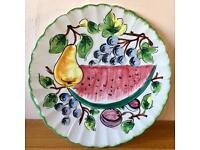 Large Highly Decorative Italian Plate with Fruit Design COLLECT LEEDS