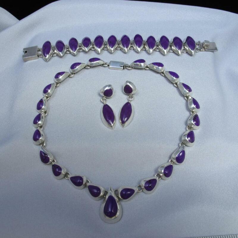 3 Pc Set Mexico Sterling Silver Purple Stone Necklace Bracelet Earrings 159g 379